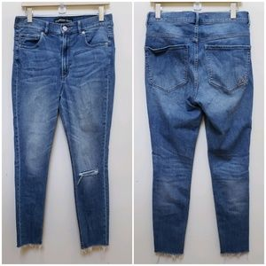 Express Ankle Super High Rise Distressed Jeans